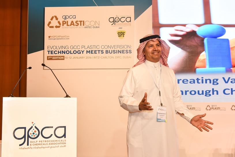 Mohammad Alazzaz speaking at PlastiCon 2016.