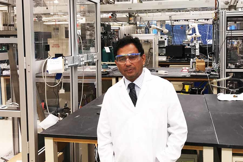 Rajesh Shende shown here at a Massachusetts Institute of Technology lab while doing research on sabbatical, is the principal investigator on a project that aims to turn biorefinery waste into value-added products.