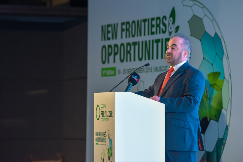 Dr Abdulrahman Jawahery, president, GPIC, and vice chairman, GPCA, delivers the opening address on the main day of the 9th GPCA Fertiliser Convention concluded on 20 September 2018.