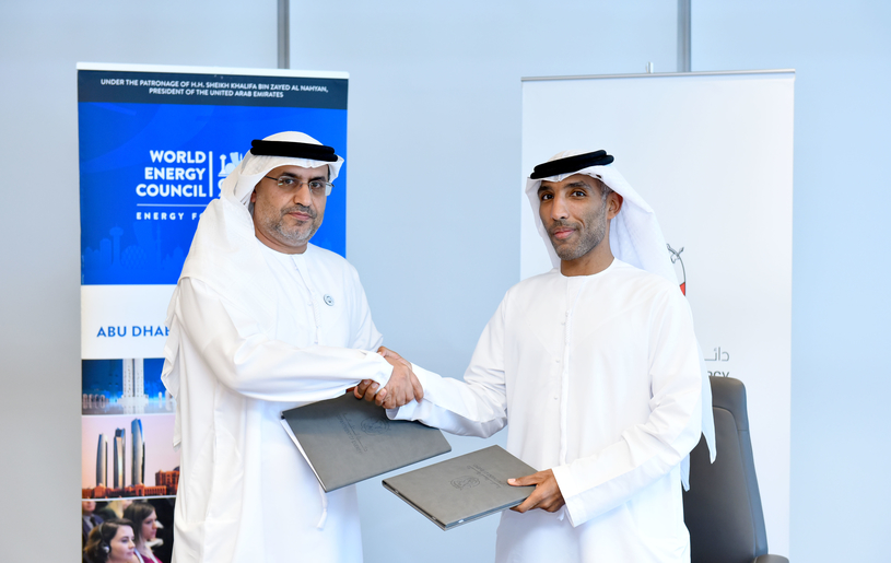 Dr Matar Al Neyadi (left), undersecretary at the UAE Ministry of Energy and Industry, and chairman of the UAE Organising Committee for the 24th World Energy Congress, and Saif Saeed Al Qubaisi, director general of the Regulation and Supervision Bureau.