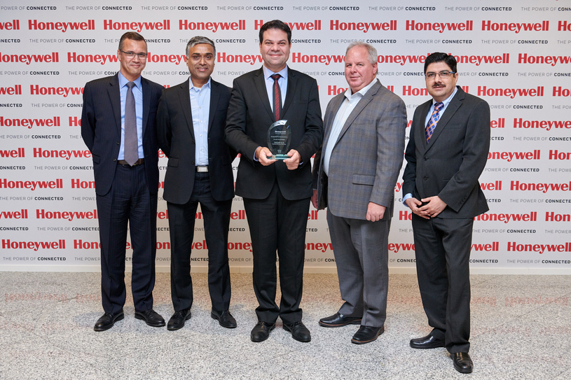Left to right: Mansour Belhadhj, vice president of EMEA sales, Honeywell Process Solutions; Ujjwal Kumar, vice president of sales, Honeywell Process Solutions; Cagri Tarek Zeybek, sales director, Oksan; John Rudolph, president, Honeywell Process Solutions; and Asheesh Arora, vice president, global channels, Honeywell Process Solutions.