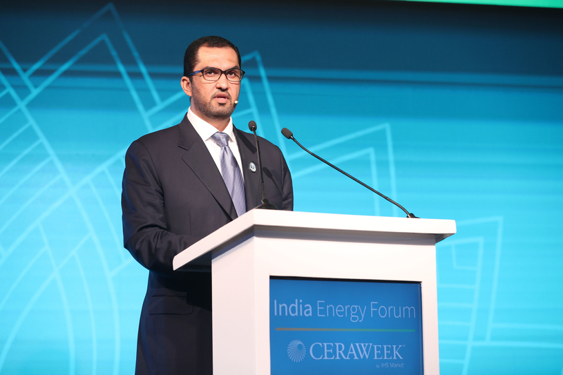 Dr Sultan Ahmed Al Jaber delivers a speech highlighting the key role the UAE will play in providing the energy that will drive India's economic expansion over the next two decades, at the CERAWeek India Energy Forum.