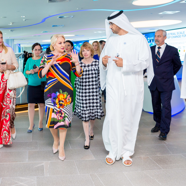 Vasilica Dăncilă, Romania's Prime Minister, with Dr Sultan Ahmed Al Jaber, UAE minister of state and Group CEO of ADNOC, at ADNOC, in Abu Dhabi.
