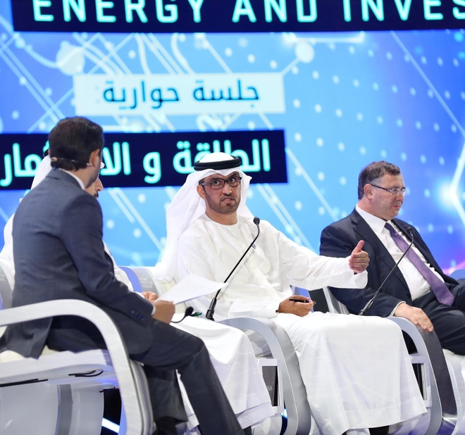Dr Sultan Ahmed Al Jaber, UAE minister of state and group CEO of ADNOC, participates in a panel discussion titled 'In Conversation: Energy & Investment' at the Future Investment Initiative 2018, held in Riyadh.