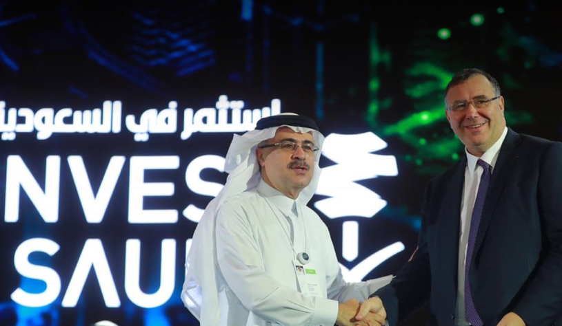 Amin Nasser (left), president and CEO, Saudi Aramco, With Patrick Pouyanné, CEO of Total, at the Future Investment Initiative 2018, held in Riyadh.