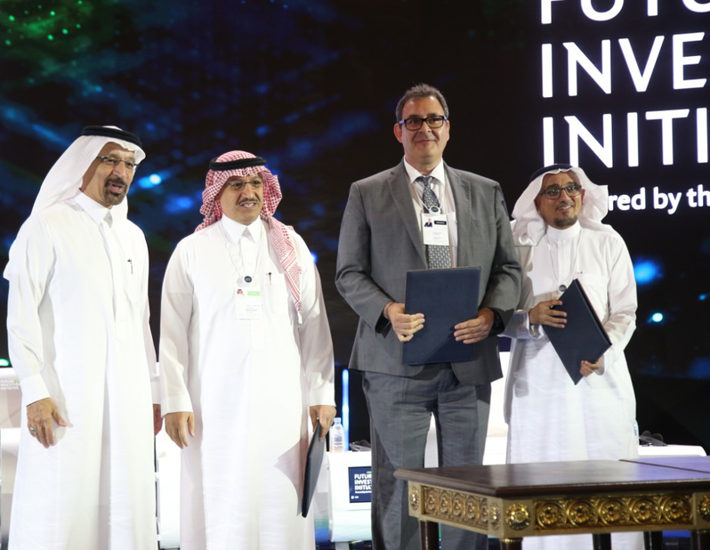 From left to right: Khalid Abdulaziz Al Falih, minister of energy, industry and mineral resources, Saudi Arabia; Yousef Abdullah Al-Benyan, vice chairman and CEO, SABIC; Christian Schmid, president and CEO, SCHMID Group; and Mohammed S Bajba, managing director, RIWAQ.