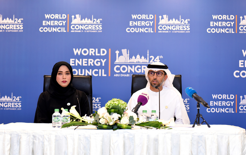 Suhail Mohamed Faraj Al Mazrouei (right), UAE minister of energy and industry, speaks at the press conference, outlining highlights of 24th World Energy Congress to be held in Abu Dhabi during 9-12 September.
