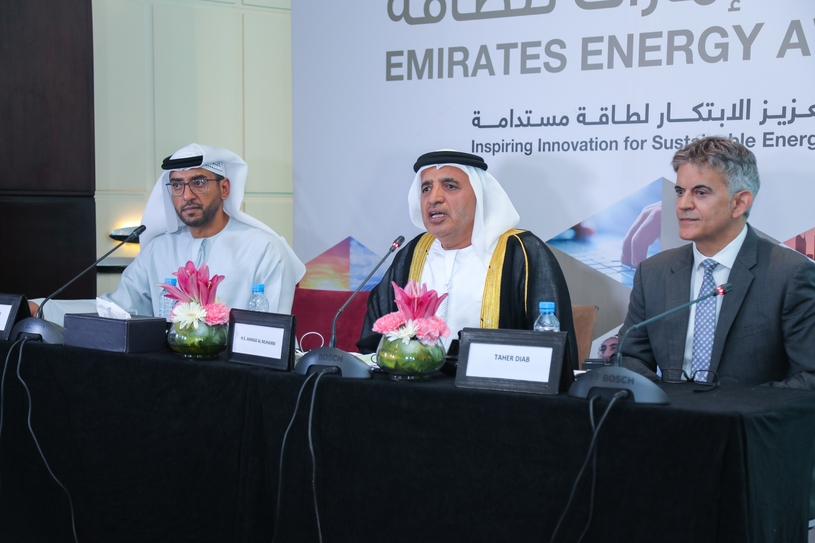 The launch ceremony witnessed the presence of representative of the UAE embassy in Morocco and Ahmad Buti Al Muhairbi (centre), secretary general of the Dubai Supreme Council of Energy (DSCE), and vice chairman of the executive committee of the Emirates Energy Award (EEA). Speakers at the event were Taher Diab (right), secretary general of EEA, and Ali Al Suwaidi, vice chairman of EEA Marketing and Events of EEA.
