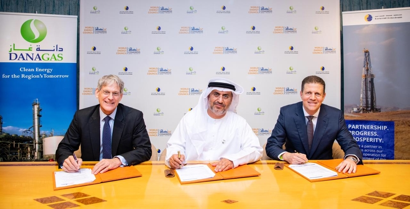 Patrick Adrian Allman-Ward (left), CEO of Dana Gas; Dr Matar Al Neyadi (centre), undersecretary at the UAE Ministry of Energy and Industry and chairman of the UAE Organising Committee for the 24th World Energy Congress; and Majid Jafar, CEO of Crescent Petroleum.