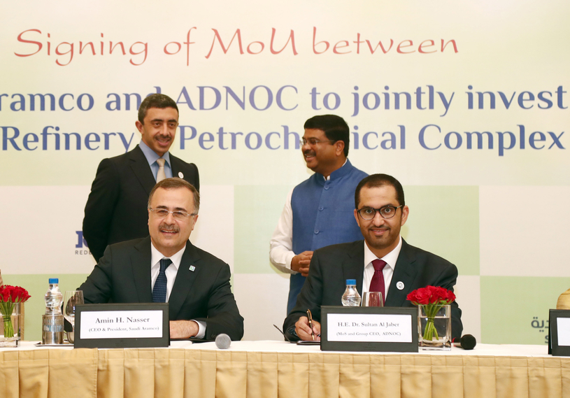 In this file photo from June 2018, Sheikh Abdullah bin Zayed bin Sultan Al Nahyan (standing, left), UAE minister of foreign affairs and international cooperation, Dharmendra Pradhan (standing, right), India's minister of petroleum and natural gas, Amin H Nasser (sitting, left), Saudi Aramco president and CEO, and Dr Sultan Ahmed Al Jaber¸ UAE minister of state and ADNOC Group CEO, are seen at the signing ceremony for the $44bn Ratnagiri refinery-petrochemicals complex.