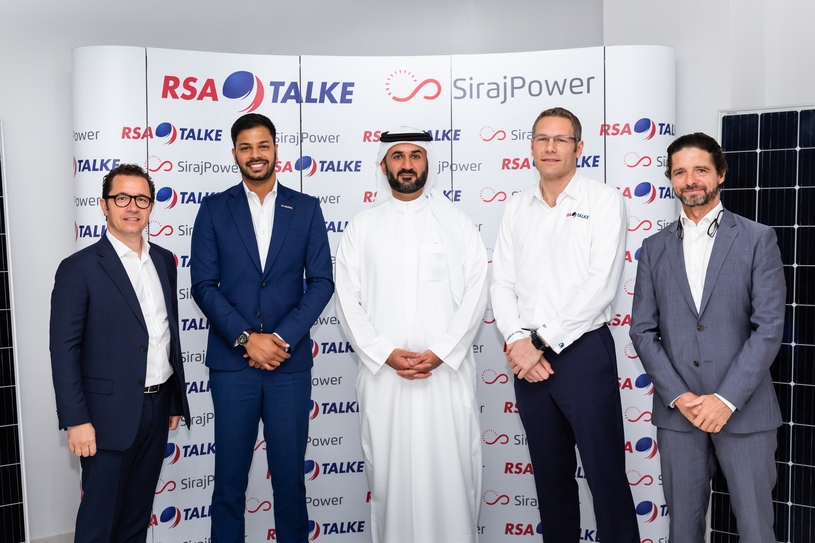 Seen from left to right: David Auriau, board member of SirajPower, Abhishek Ajay Shah, co-founder and group CEO of RSA Global, Mohammed Abdulghaffar Hussain, chairman of SirajPower, Markus Koespel, general manager of RSA-TALKE, and Laurent Longuet, CEO of SirajPower.