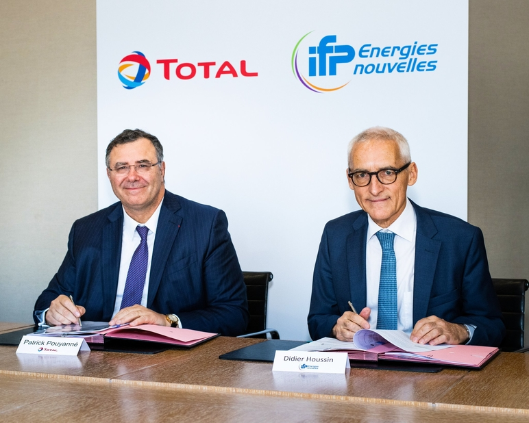 Patrick Pouyanné, chairman and CEO of Total, with Didier Houssin, chairman and CEO of IFPEN. (Image courtesy: Total Twitter handle)