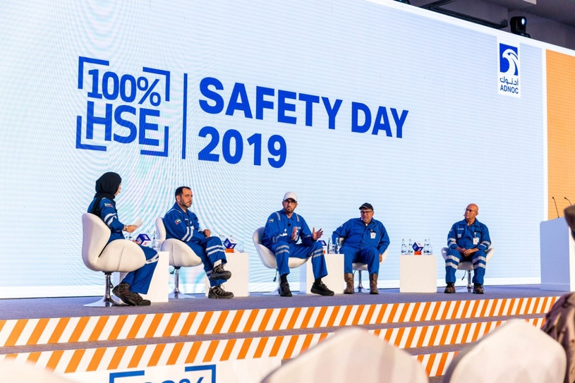 Dr Sultan Ahmed Al Jaber (centre), UAE minister of state and ADNOC Group CEO, speaks during the Safety  Day held by ADNOC. (Image courtesy: ADNOC Twitter handle)