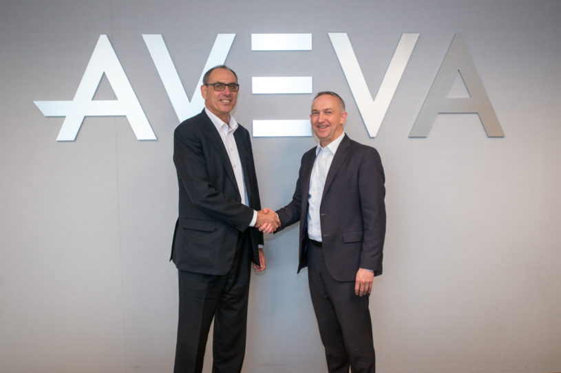 Andrew Wood (left), CEO Worley, with Craig Hayman, CEO of AVEVA.