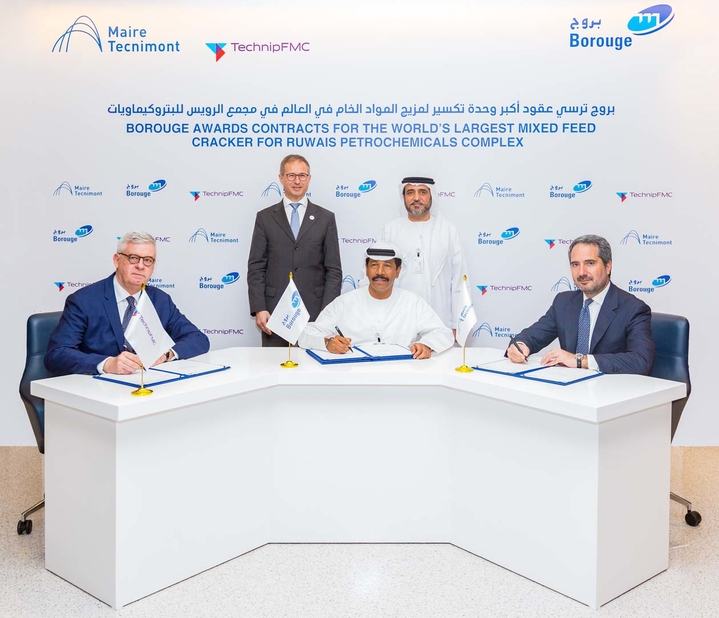 In March 2019, Borouge awarded TechnipFMC, Maire Tecnimont and WorleyParsons three major contracts for the fourth phase of the Ruwais petrochemicals complex, which will include the world's largest mixed feed cracker. As seen in this file photo, the contracts were signed by Ahmed Omar Abdulla (sitting, centre), CEO, Borouge, Marco Villa (sitting, left), president EMIA, TechnipFMC, and Pierroberto Folgiero (sitting, right), group CEO, Maire Tecnimont, in the presence of Abdulaziz Alhajri (standing, right), executive director, Downstream Directorate, ADNOC, and Alfred Stern, chief executive, Borealis. (Image for illustration only)