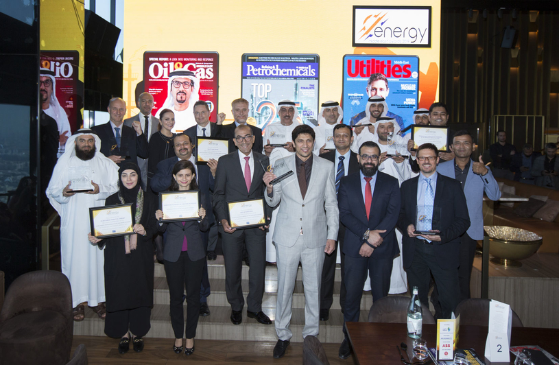 The winners and highly commended celebrate at the 2019 Middle East Energy Awards 2019.