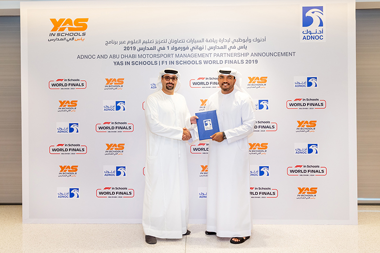 The agreement was signed by Omar Suwaina Al Suwaidi (right), director of the executive office directorate at ADNOC, and Saif Rashed Al Noaimi, deputy CEO of Yas Marina Circuit.