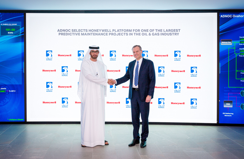 Dr Sultan Ahmed Al Jaber (left), UAE minister of state and group CEO of ADNOC, with Darius Adamczyk, chairman and CEO of Honeywell, after announcing the partnership to leverage artificial intelligence technologies like machine learning and digital twins to reduce unplanned downtime, enabling substantial cost savings for ADNOC.