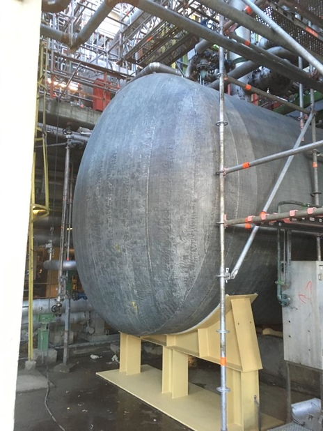 Hydratight composite repair for process vessel.