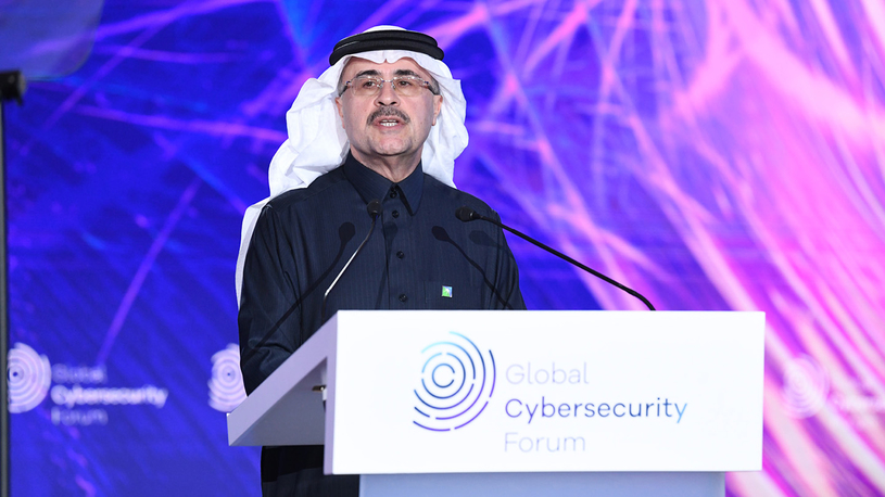 Saudi Aramco's president and CEO, Amin H Nasser, participating in the Global Cybersecurity Forum.