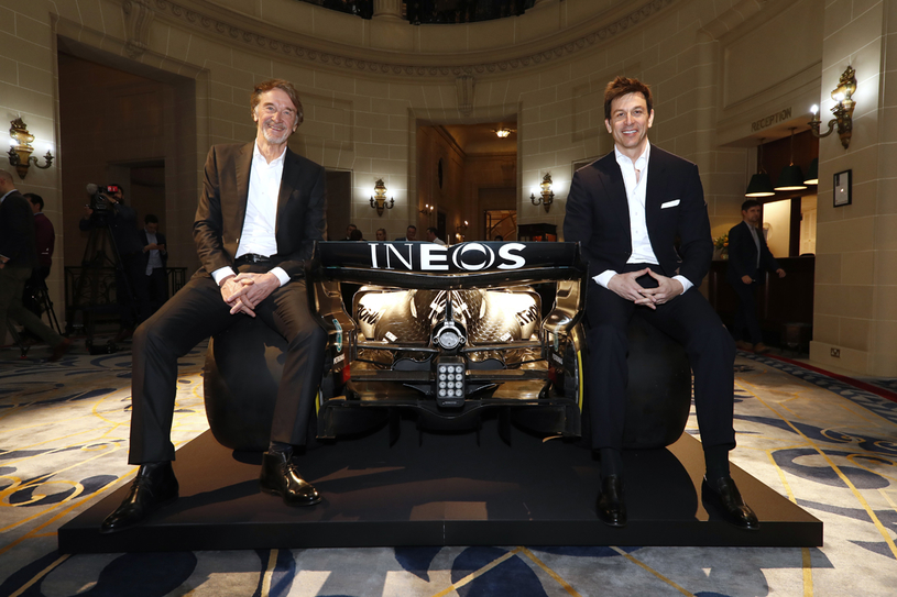 Sir Jim Ratcliffe (left), founder and chairman of INEOS, with Toto Wolff, team principal and CEO of Mercedes-AMG Petronas.