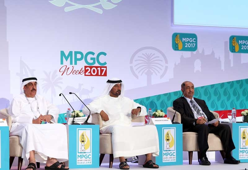 In this file photo, Sheikh Ahmed bin Saeed Al Maktoum (centre), chairman, Dubai Supreme Council of Energy, president, Dubai Civil Aviation Authority, and chairman and chief executive, Emirates Group, Saif Humaid Al Falasi (left), CEO, ENOC Group, and Fereidun Fesharaki, chairman, FACTS Global Energy, grace the joint official opening of the 25th Middle East Petroleum & Gas Week and the Middle East Bitumen/Asphalt Conference 2017.