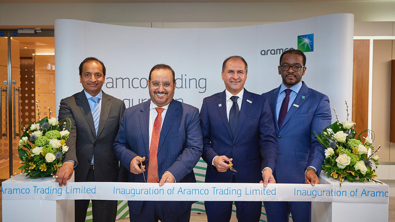 Abdulaziz Al-Judaimi (second from left), Saudi Aramco senior vice president of downstream, inaugurating the ATL office in London together with CEO of Aramco Trading, Ibrahim Q Al Buainain (second from right).